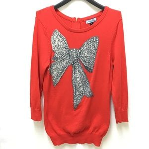 Cynthia Rowley Red Scoop Neck Bow Sweater, XS